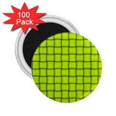 Fluorescent Yellow Weave 2 25  Button Magnet (100 Pack)