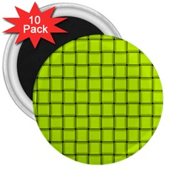 Fluorescent Yellow Weave 3  Button Magnet (10 Pack)