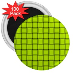 Fluorescent Yellow Weave 3  Button Magnet (100 pack)