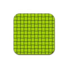 Fluorescent Yellow Weave Drink Coaster (square)