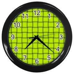 Fluorescent Yellow Weave Wall Clock (black)