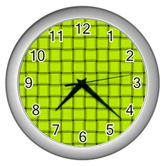 Fluorescent Yellow Weave Wall Clock (silver)