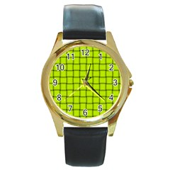Fluorescent Yellow Weave Round Metal Watch (gold Rim)