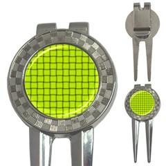 Fluorescent Yellow Weave Golf Pitchfork & Ball Marker