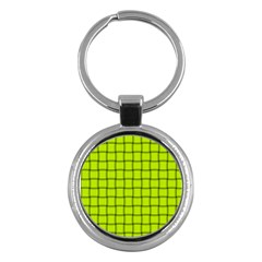 Fluorescent Yellow Weave Key Chain (Round)