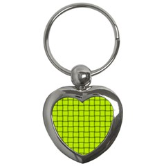 Fluorescent Yellow Weave Key Chain (heart)