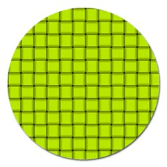 Fluorescent Yellow Weave Magnet 5  (Round)