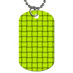 Fluorescent Yellow Weave Dog Tag (Two Sided)