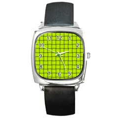 Fluorescent Yellow Weave Square Leather Watch