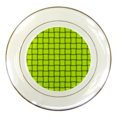 Fluorescent Yellow Weave Porcelain Display Plate