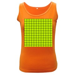Fluorescent Yellow Weave Womens  Tank Top (Dark Colored)