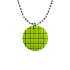 Fluorescent Yellow Weave Button Necklace
