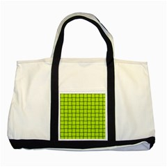 Fluorescent Yellow Weave Two Toned Tote Bag