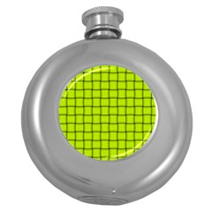Fluorescent Yellow Weave Hip Flask (round)