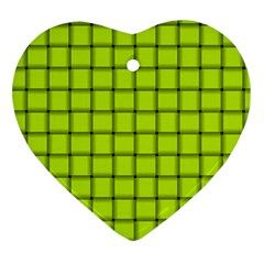 Fluorescent Yellow Weave Heart Ornament (two Sides)