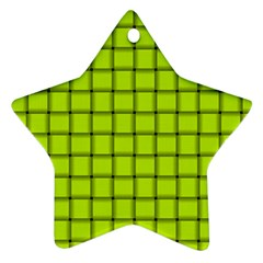 Fluorescent Yellow Weave Star Ornament (Two Sides)
