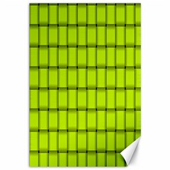 Fluorescent Yellow Weave Canvas 12  x 18  (Unframed)