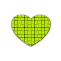 Fluorescent Yellow Weave Drink Coasters 4 Pack (Heart)