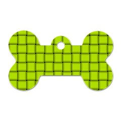 Fluorescent Yellow Weave Dog Tag Bone (one Sided)