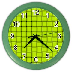 Fluorescent Yellow Weave Wall Clock (color)