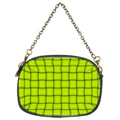 Fluorescent Yellow Weave Chain Purse (One Side)