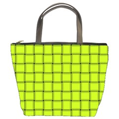 Fluorescent Yellow Weave Bucket Bag