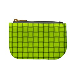 Fluorescent Yellow Weave Coin Change Purse