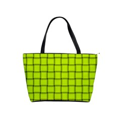 Fluorescent Yellow Weave Large Shoulder Bag