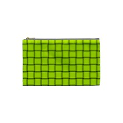 Fluorescent Yellow Weave Cosmetic Bag (Small)