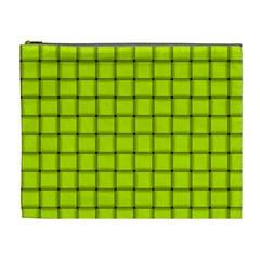 Fluorescent Yellow Weave Cosmetic Bag (XL)