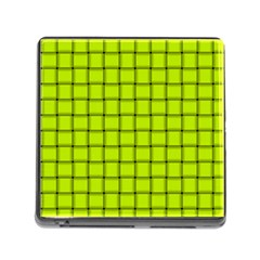 Fluorescent Yellow Weave Memory Card Reader with Storage (Square)
