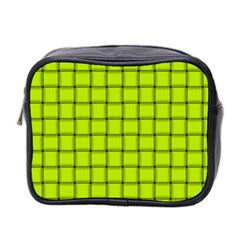 Fluorescent Yellow Weave Mini Travel Toiletry Bag (Two Sides)