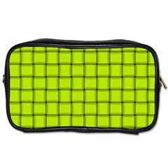Fluorescent Yellow Weave Travel Toiletry Bag (Two Sides)