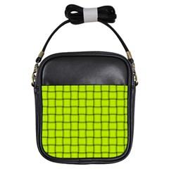 Fluorescent Yellow Weave Girl s Sling Bag