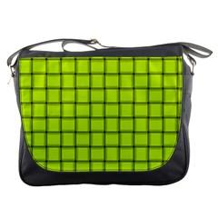 Fluorescent Yellow Weave Messenger Bag