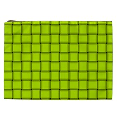 Fluorescent Yellow Weave Cosmetic Bag (xxl)