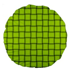 Fluorescent Yellow Weave 18  Premium Round Cushion