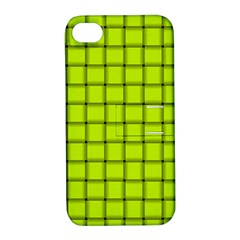 Fluorescent Yellow Weave Apple iPhone 4/4S Hardshell Case with Stand