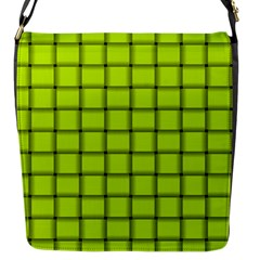 Fluorescent Yellow Weave Flap closure messenger bag (Small)