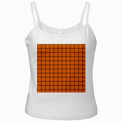 Orange Weave White Spaghetti Tank