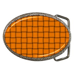 Orange Weave Belt Buckle (oval)