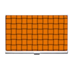 Orange Weave Business Card Holder