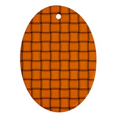 Orange Weave Oval Ornament (two Sides)