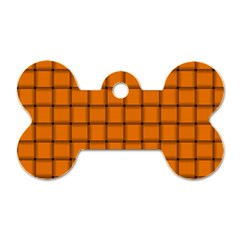 Orange Weave Dog Tag Bone (Two Sided)