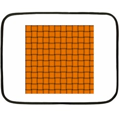 Orange Weave Mini Fleece Blanket (Two-sided)
