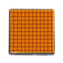 Orange Weave Memory Card Reader with Storage (Square)