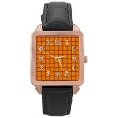 Orange Weave Rose Gold Leather Watch