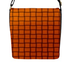 Orange Weave Flap Closure Messenger Bag (Large)
