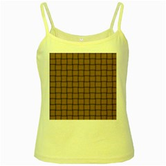 Cafe Au Lait Weave Yellow Spaghetti Tank