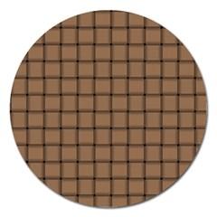 Cafe Au Lait Weave Magnet 5  (Round)